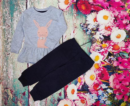 FULL SLEEVES BUNNY PRINTED TEE WITH JOGGER SET – GREY