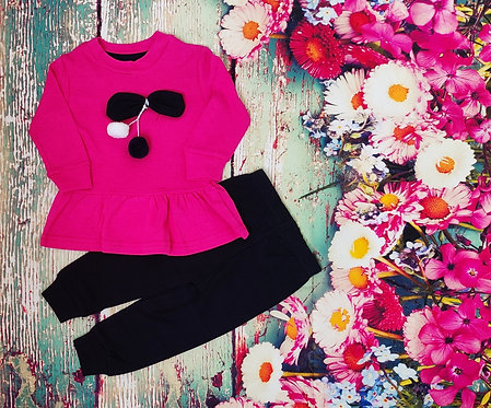 FULL SLEEVES TEE WITH JOGGER SET – DARK PINK