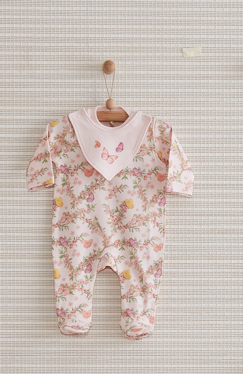 BUTTERFLY GARDEN FULL SLEEVES FOOTED BABY GIRL ROMPER WITH BIB
