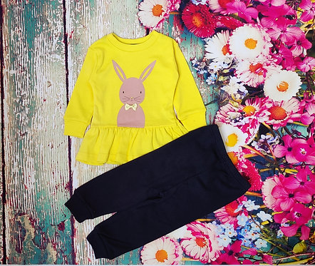 FULL SLEEVES BUNNY PRINTED TEE WITH JOGGER SET – YELLOW