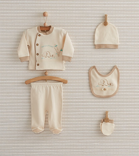 BAMBOO FOREST NEWBORN BABY 5 IN 1 ORGANIC COTTON GIFT SET