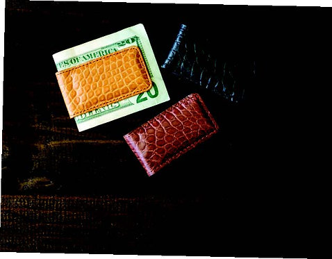 BPM410•Genuine Matte Alligator Magnetic Money Clip