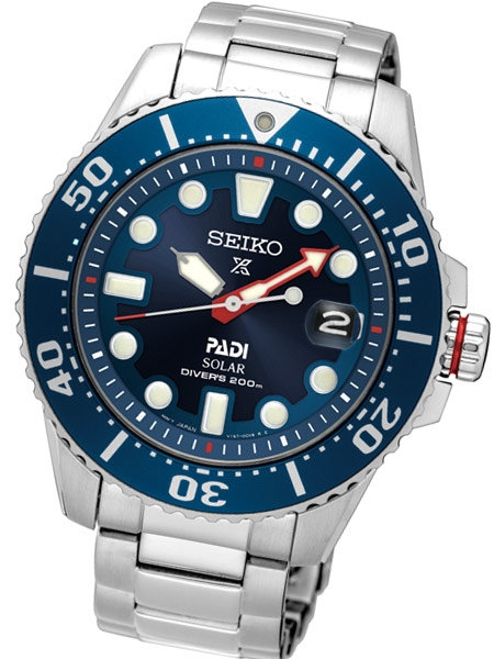 SEIKO SPECIAL EDITON PROSPEX PADI SOLAR DIVE WATCH WITH STAINLESS STEEL BRACELET