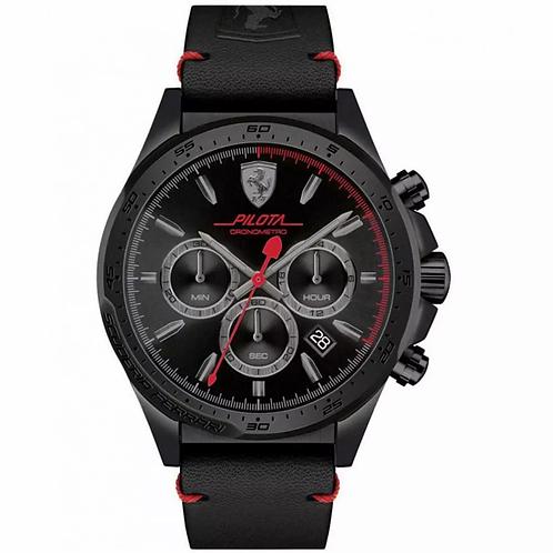 FERRARI Men's Scuderia Ferrari Pilota Chrono Black Leather Band Watch