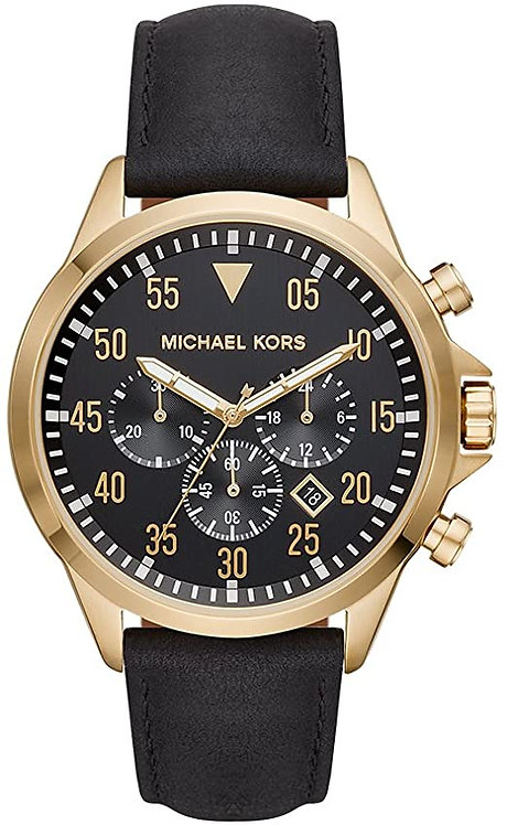 Michael Kors Men's Gage Gold-Tone and Black Leather Watch