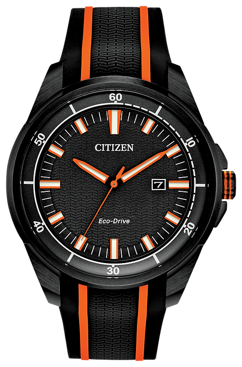Citizen AR Eco-Drive Black Dial Orange Stainless Steel Watch