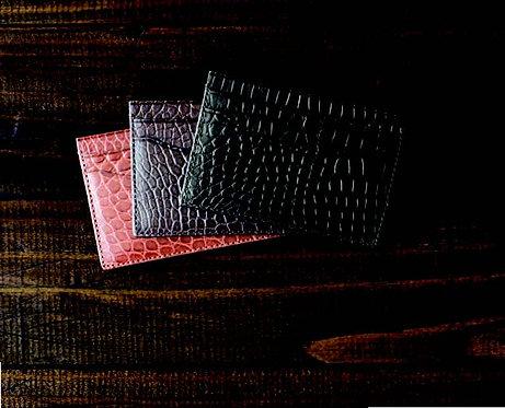 BPC410•Genuine Semi-Matte Alligator Card Case