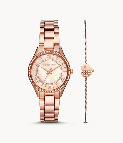 MK Lauryn Three-Hand Rose Gold-Tone Stainless Steel Watch Giftset