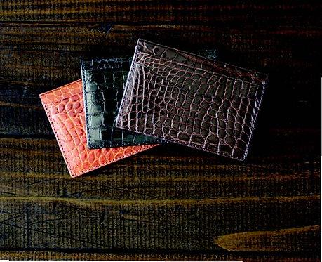 BPC400•Genuine Shiny Alligator Card Case