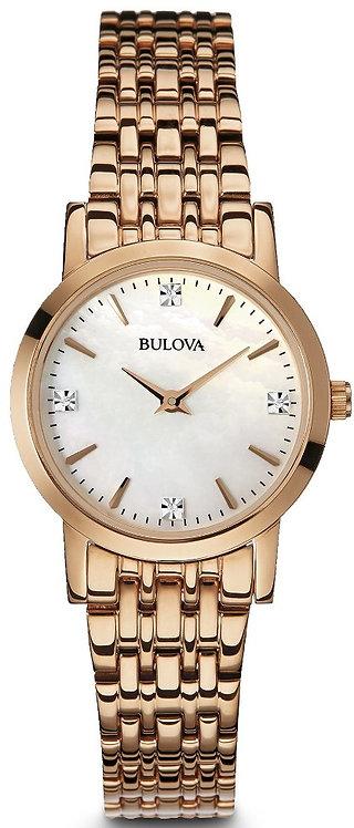 Women's Bulova Diamond Rose Steel Link Pearl Watch 97P106