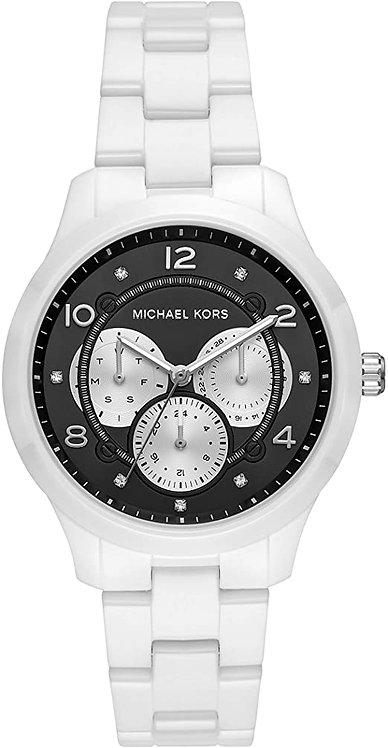 Michael Kors Women's Runway Multifunction White Ceramic Watch