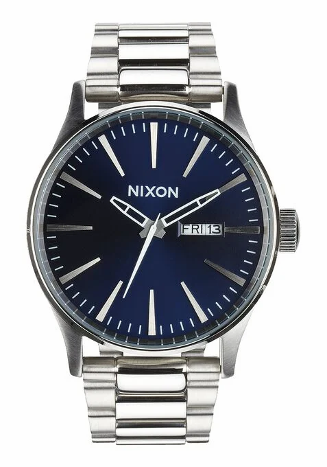 NIXON Sentry Stainless Steel Watch Blue Sunray