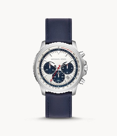 MICHAEL KORS Men's Cortlandt Chronograph Navy Leather Watch