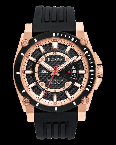 Bulova Precisionist Men's Rose Gold Black Dial Watch
