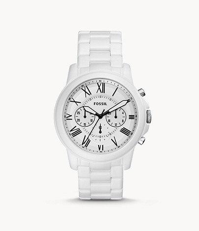 Fossil Grant Chronograph White Ceramic Watch