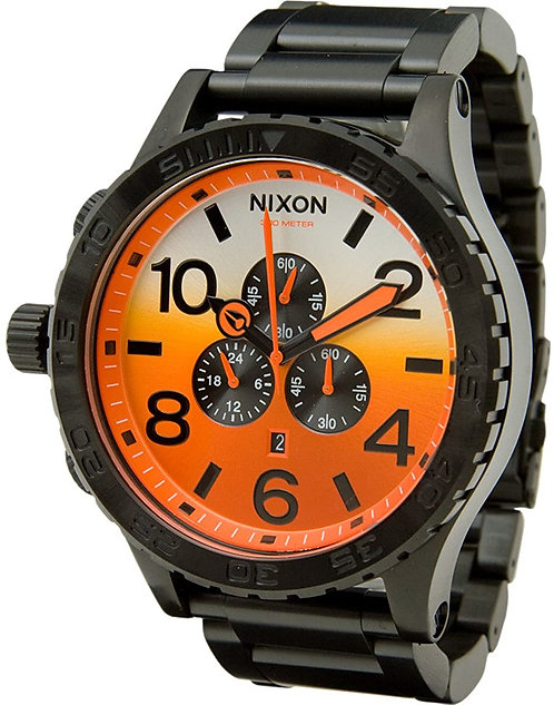 Nixon Men's 51-30 Chrono Analog Watch In All Black / Sunrise (A083-580)