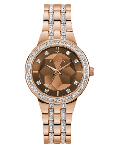 Bulova Women's Rose Goldtone Faceted Dial Crystal Bracelet Watch