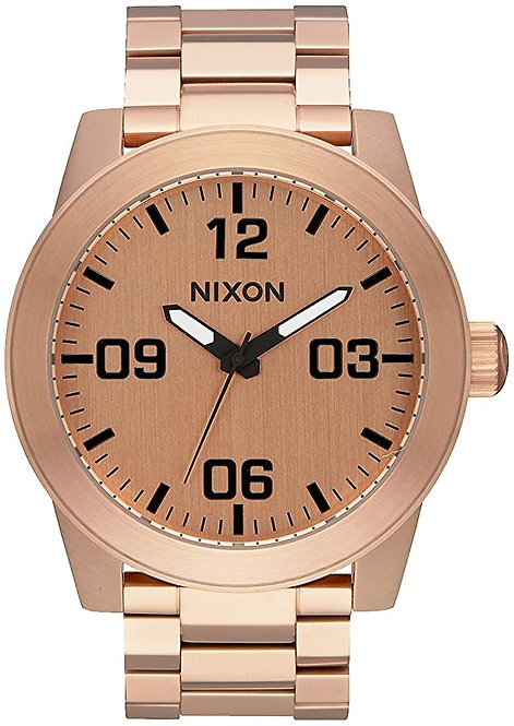 NIXON Men's Quartz Watch with Stainless Steel Strap, Rose Gold, 20 (A346 897-00)