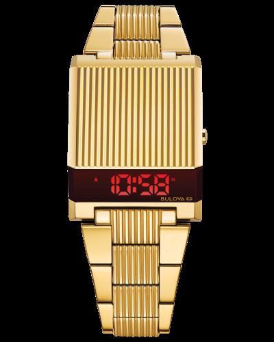 Bulova Computron Men's Gold Red Dial Stainless Steel Watch