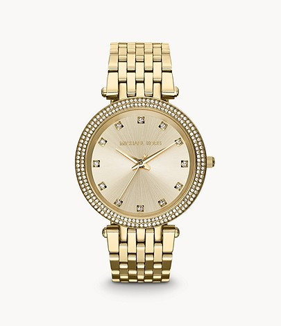 MK Women's Darci Three-Hand Gold-Tone Stainless Steel and Glitz Dial Watch