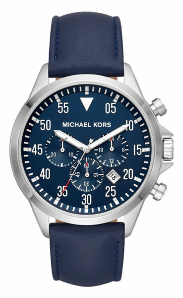 Michael Kors Men's Gage Stainless-Steel and Navy Leather Watch