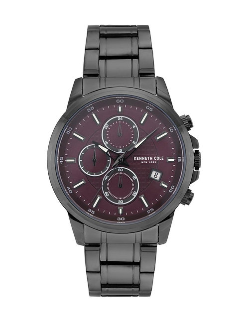 KENNETH COLE Men's Sports Classic Red Dial Black Leather Watch