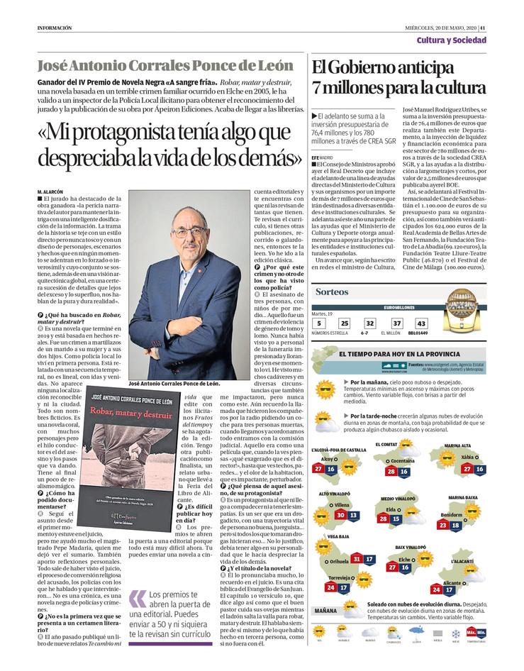 """José Antonio Corrales, ganador de la IV edición del Premio de Novela """"A sangre fría"""" (Ápei"""