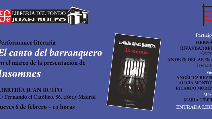 """Jueves, 6 de febrero, 19:00 h. Presentación de la novela """"Insomnes"""" (de Hernán Rivas) en l"""