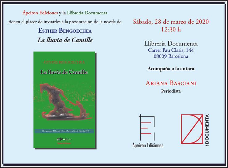 """Sábado, 28 de marzo, 12:30 h. Presentación de """"La lluvia de Camille"""" (de Esther Bengoechea"""