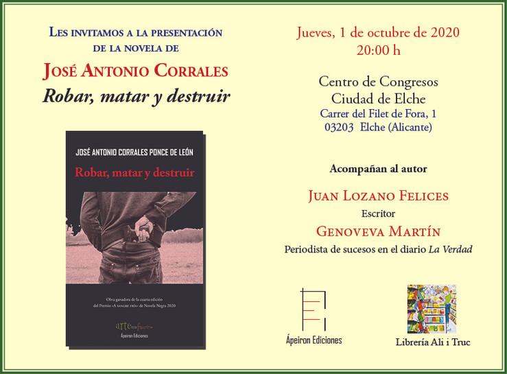 """Presentación de """"Robar, matar y destruir"""" en el Centro de Congresos Ciudad de Elche (Alicante)"""
