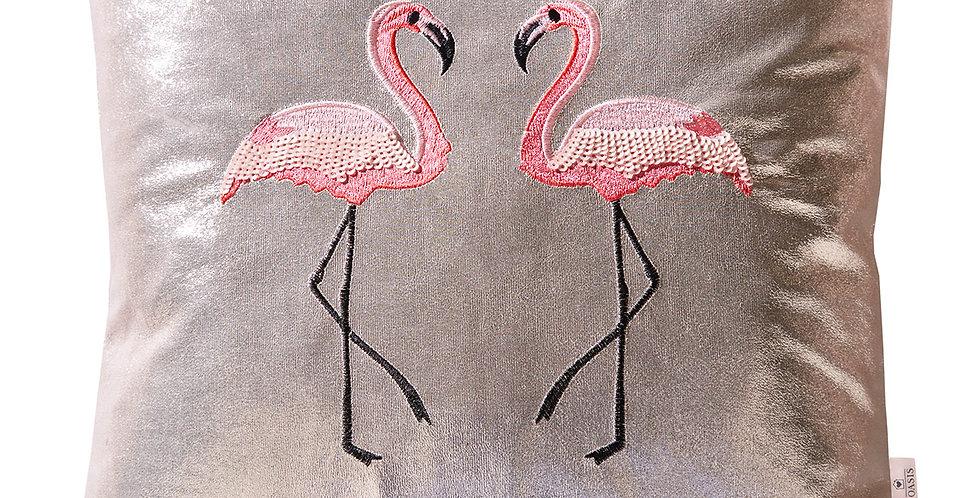 Metallic Flamingo Cushion