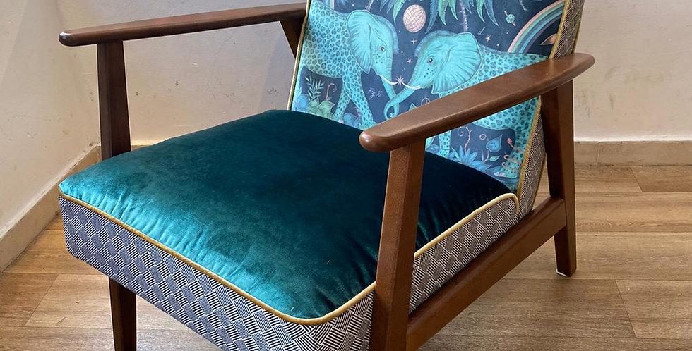 כורסא סקנדי - זמבזי ירוק/כחול