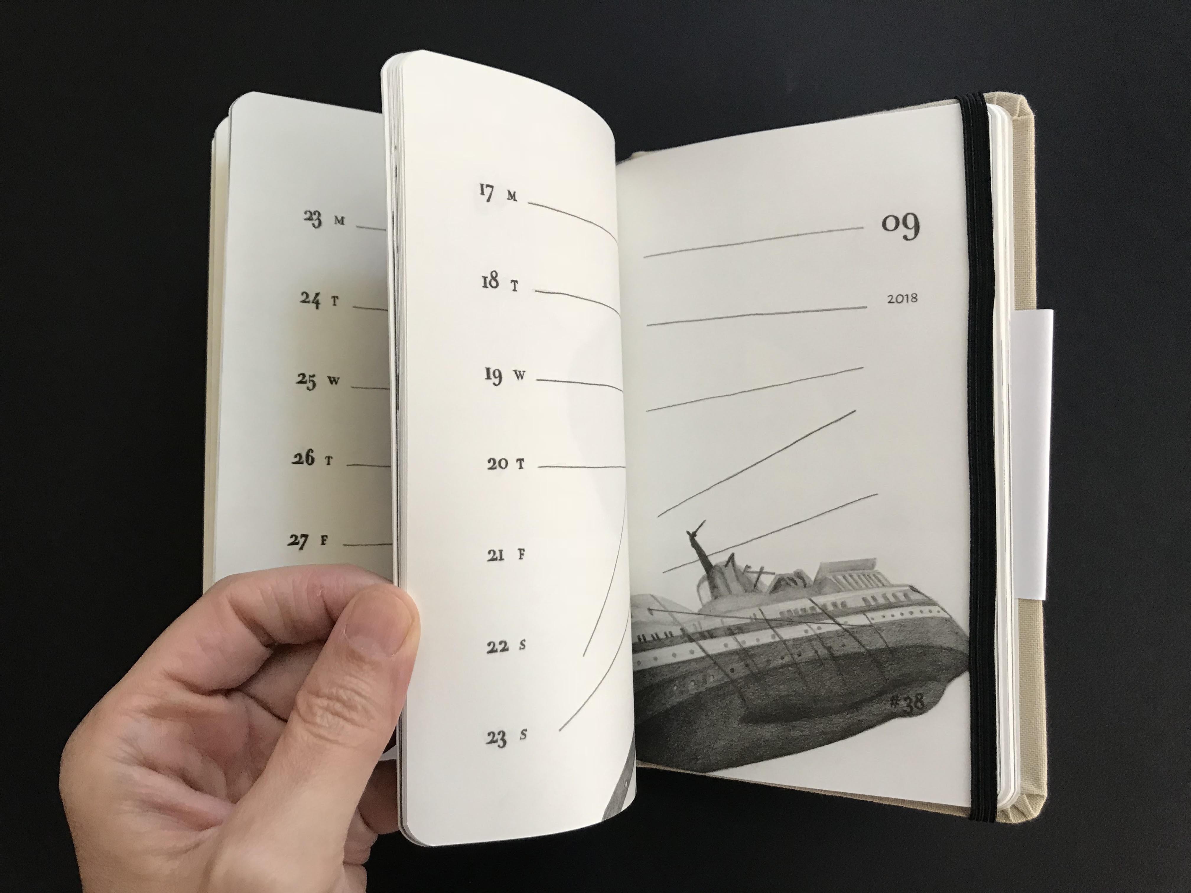 מאיה אטון, 2018 ספר אמן ויומן שבועי, 17X11 סמ (2)