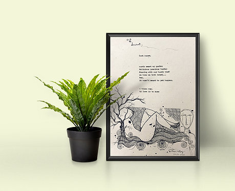 Hand-typed poetry on handmade paper with original illustration