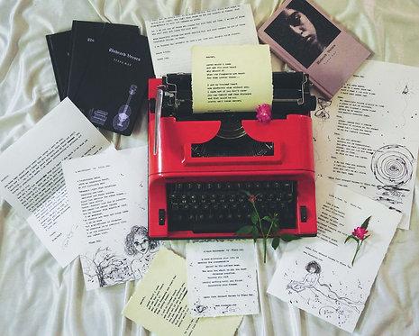 Framed Hand-typed poetry on handmade paper