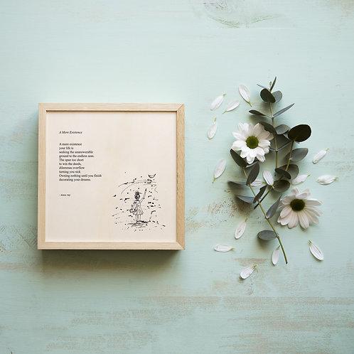 Framed  poetry art print on handmade paper