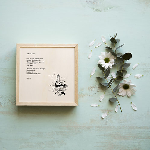 Framed poetry art print on handmade paper