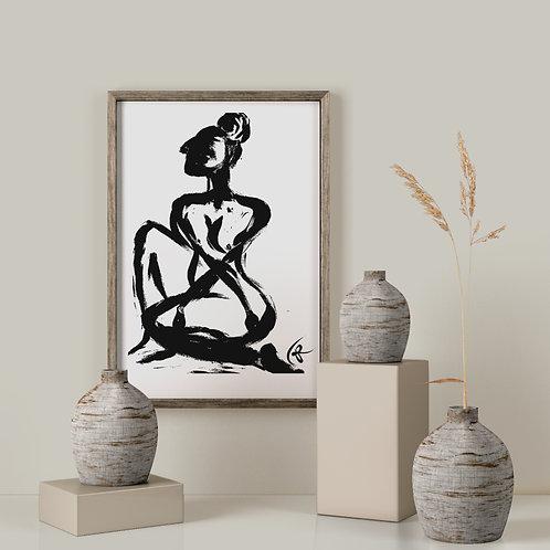 Woman Awaiting - Original Art : Framed