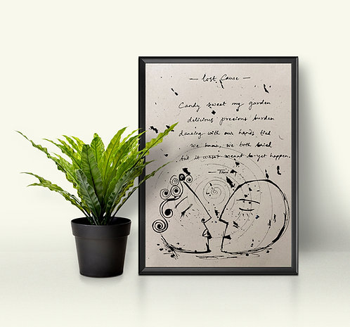 Handwritten poetry on handmade paper with original illustration