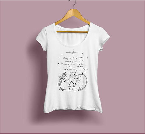 handwritten poem illustrated : t-shirt
