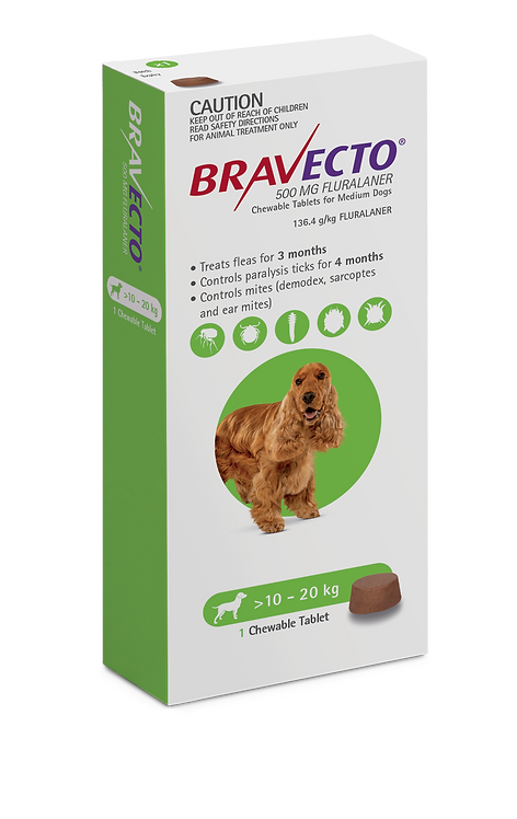 Bravecto Chewable for Dogs 10-20kg - 1 Tab