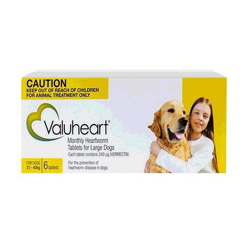 Valuheart Heartworm Tablets Gold (21-40kg) 6 Pack