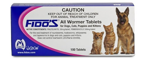 Fido's Allwormer Tablets - Dogs & Cats.....from