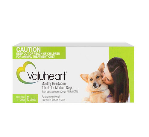 Valuheart Heartworm Tablets Green (11-20kg) 6 Pack
