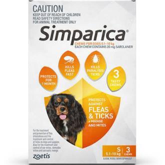 Simparica Orange 5.1-10kg.....from
