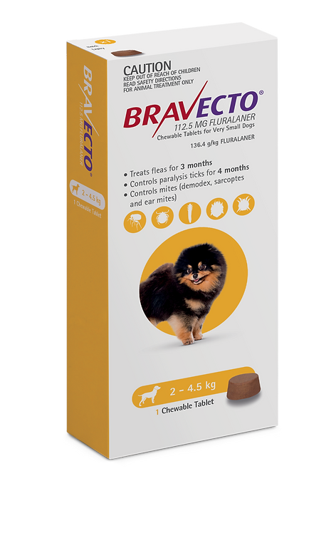 Bravecto Chewables for Dogs 2-4.5kg - 1 Tab