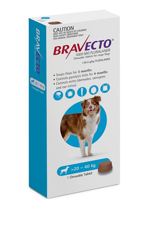 Bravecto Chewable for Dogs 20-40kg - 1 Tab