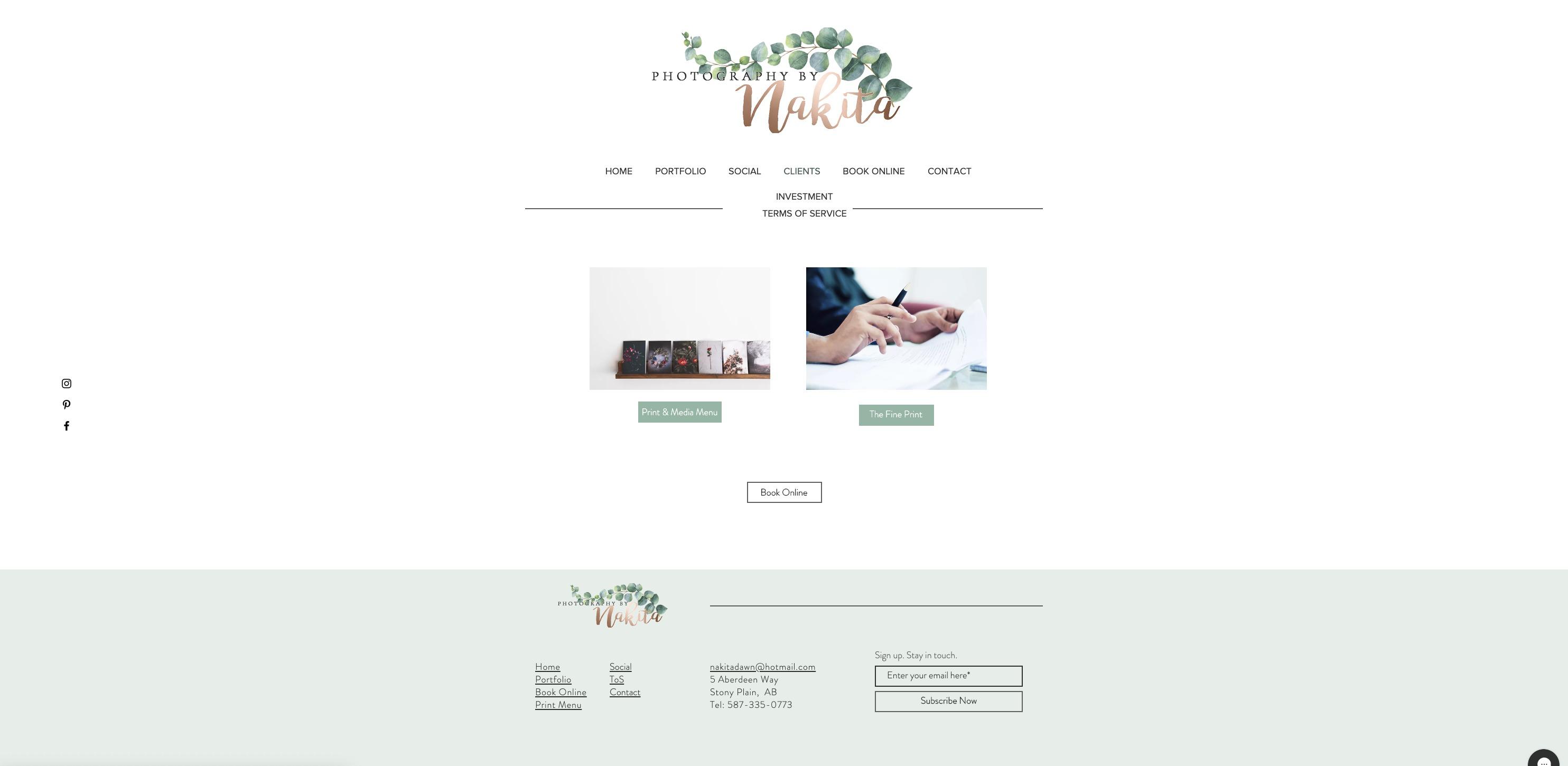 Clients Menu Page