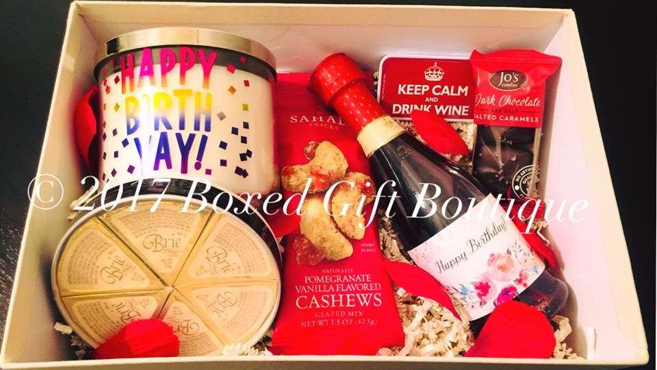 Happy Birthday Wine & Cheese Box