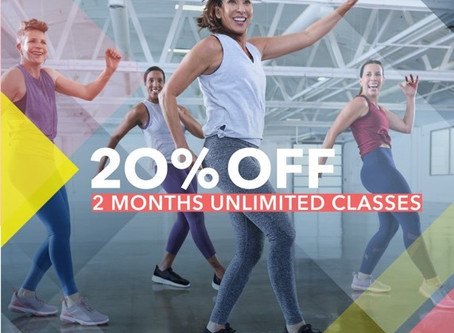 20% Off 2 Months Unlimited Classes